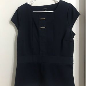 Navy blue Ann Taylor blouse with metal bow detail